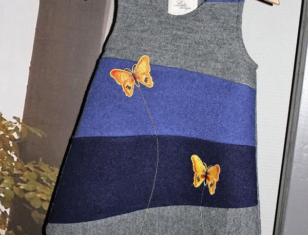Kul sommerfugl kjole. Blå/grå. str 2 år