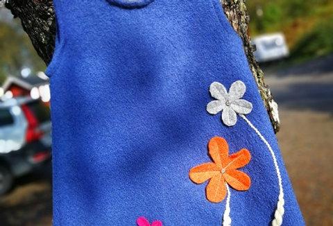Blå blomsterkjole str2 år