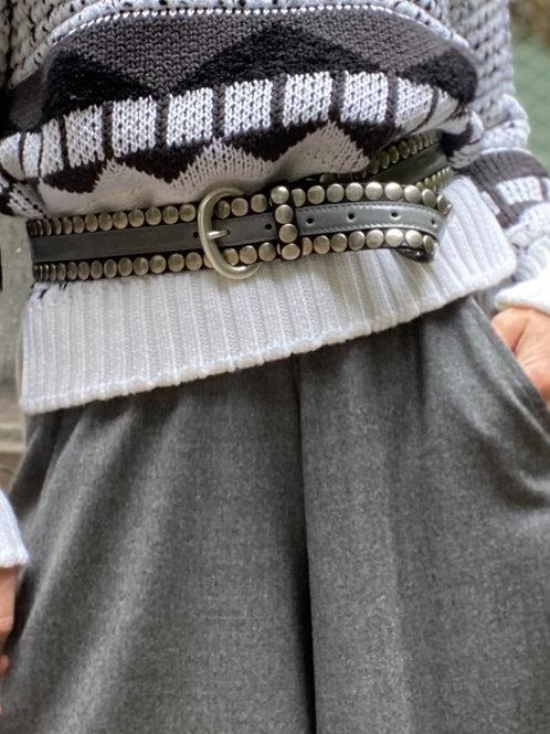 Cintura in pelle con vernice e borchie NANNI MILANO