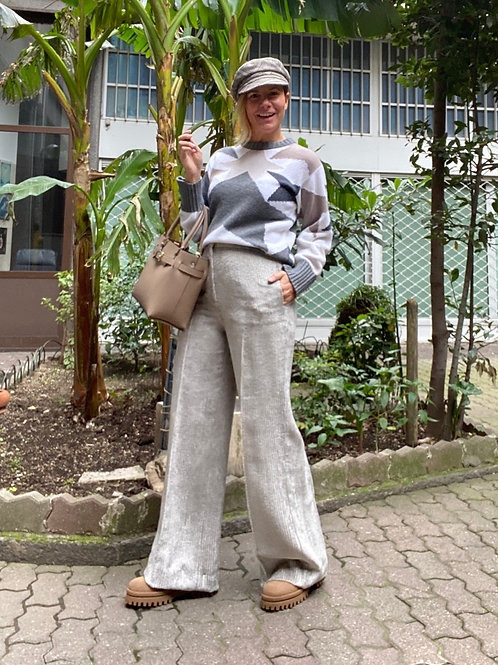 Pantalone largo in velluto