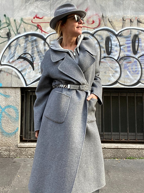 Cappotto over in lana double con cintura a catena E.SCERVINO