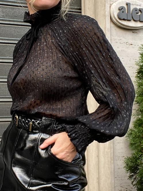 Camicia in plumetil con fiocco