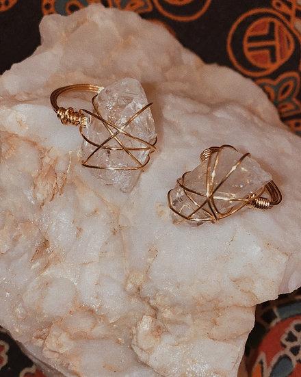 Clear Quartz Gold Ring