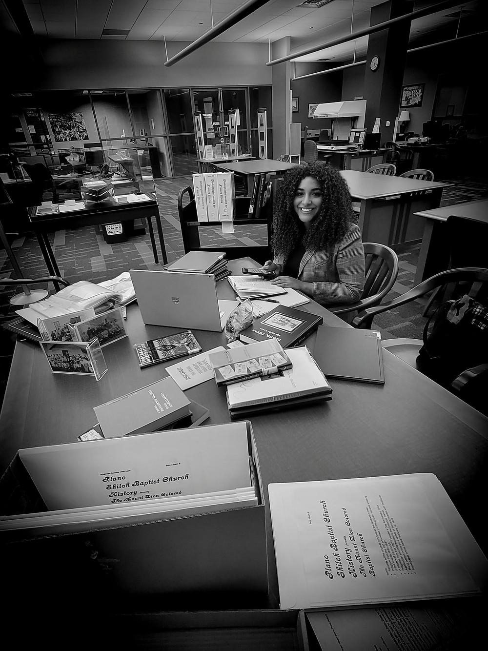 Zara Researching Black History at Haggard Library