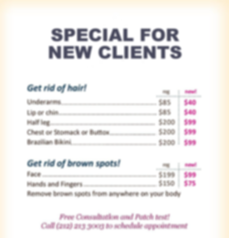 laser hair removal poster flier special new client  cheap best free  medical salon spa Manhattan midtown New York NYC