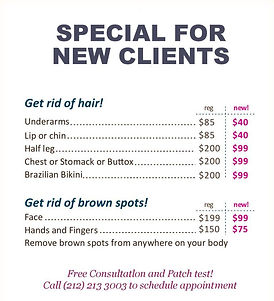 laser hair removal medical salon spa Manhattan midtown New York NYC flier picture large specials cheap new clients free consultation