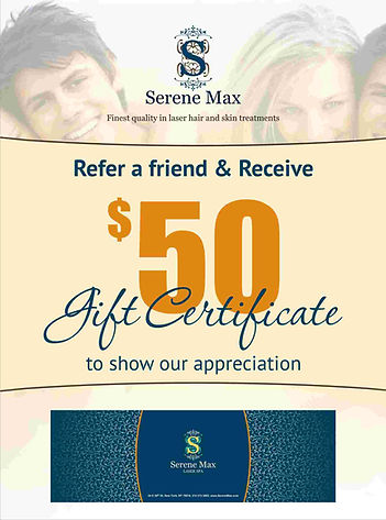 laser hair removal refer send  friend program reward gift certificate poster large flier medical salon spa Manhattan midtown New York NYC