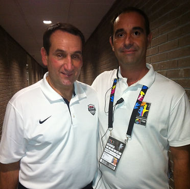José Antonio Nevado, co-founder of Barcel'Hona Sports Events, poses for a pictue with Mike Krzyzewski, Head Basketball coach at Duke University.