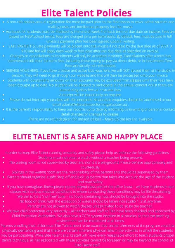 Elite Talent Policies A non-refundable annual registration fee must be paid prior to the f