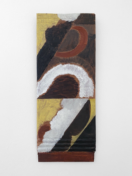 Untitled, 2020. Oil paint and wax on cardboard, 25 x 9.75 in (63.5 x 24.7 cm)