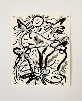 Untitled (Sun), 2020. India ink on paper, 14 x 11 in (35.56 x 27.94 cm)