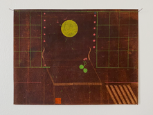 Yellow Moon in a Brown Room, 2020. Oil on found paper, 11.5 x 9 in (29.21 x 22.86 cm)