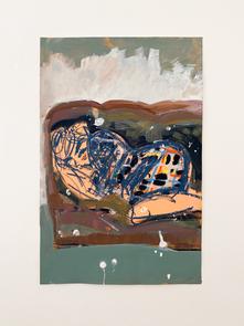 Splattered Nap, 2020. Flashe, oil pastel on paper, 22 x 14.5 in (55.88 x 36.83 cm)