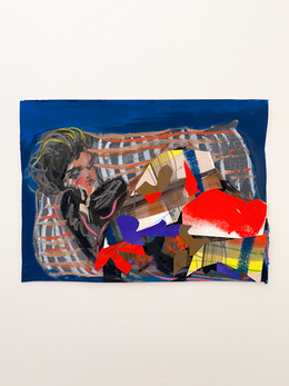 The Nap, 2020. Flashe, oil pastel, cut paper on paper, 12.5 x 16.5 in (31.75 x 41.91 cm)
