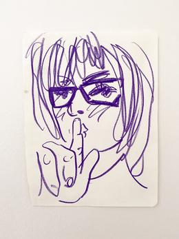 Shh, 2020. Wax color pencil on paper, 9.7 x 7.5 in (24.63 x 19.05 cm)