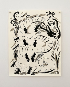 Untitled (Snake), 2020. India ink on paper, 14 x 11 in (35.56 x 27.94 cm)