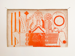 Radio, 2020. Oil on found paper, 8.75 x 5.5 in (22.22 x 13.97 cm)