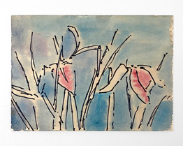Flowers, 2020. Watercolor and ink on paper, 5.5 x 7.5 in (13.97 x 19.05 cm)