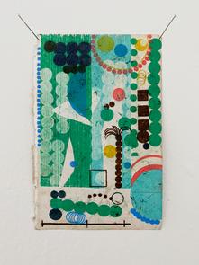 Palm, 2020. Oil on found paper, 3.75 x 6 in (9.525 x 15.24 cm)