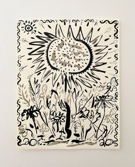 Untitled (Sunflower), 2020. India ink on paper, 14 x 11 in (35.56 x 27.94 cm)