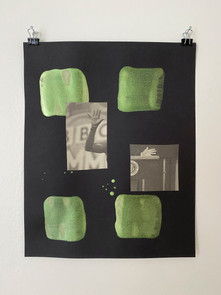 Untitled, 2020. Acrylic and collage on paper, 11 x 8.5 in (27.94 x 21.59 cm)