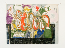 Table with Flowers, 2019. Oil on found paper, 9 x 7.25 in (22.86 x 18.41 cm)