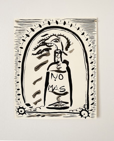 Untitled (Molotov), 2020. India ink on paper, 14 x 11 in (35.56 x 27.94 cm)