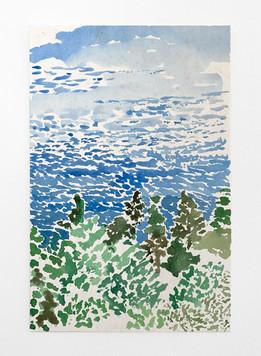 Sea, 2019. Watercolor on paper, 8 x 5.5 in (20.32 x 13.97 cm)