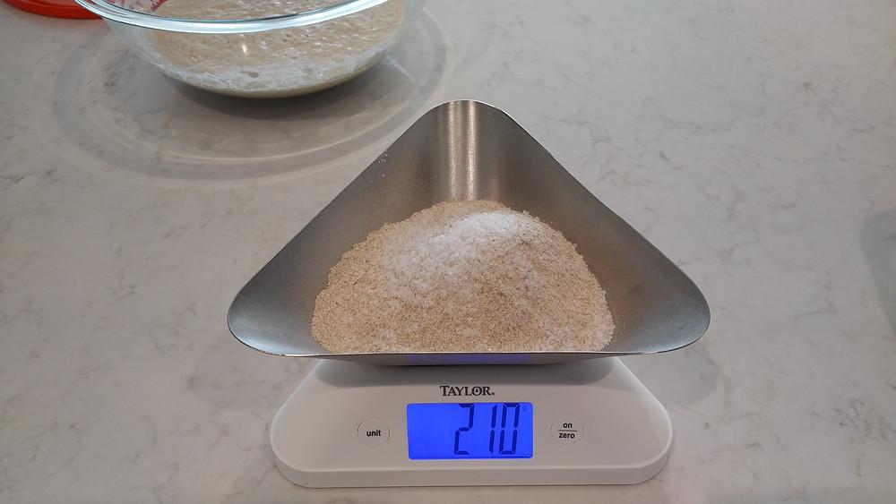 210g of salt and flour