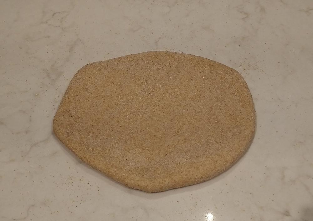 Flattened first dough