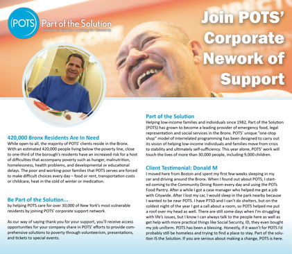 POTS Corporate Giving Brochure front