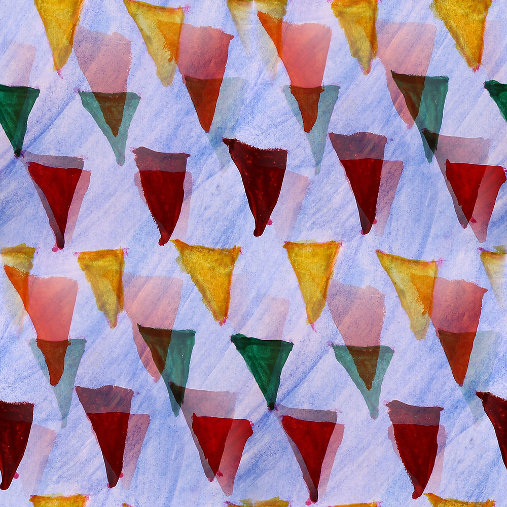 multicoloured triangles on fabric