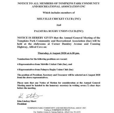 TOMPKINS PARK COMMUNITY & RECREATION ASSOCIATION AGM