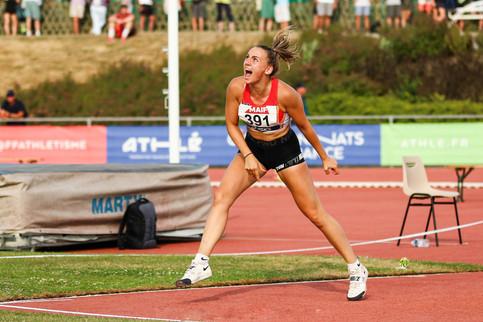 Laura Michotey au javelot championnats de France d'athlétisme Angers 2019