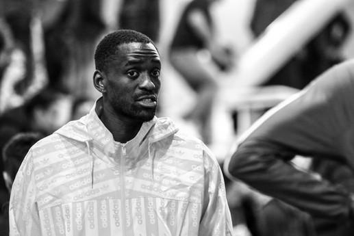Teddy Tamgho coach du triple saut sur les championnats de France d'athlétisme élite en salle à St brieuc 2020