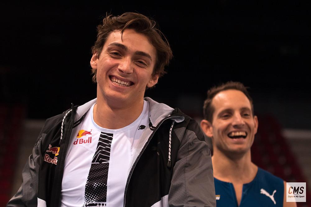 Armand Mondo Duplantis et Renaud Lavillenie au perche elite tour de Rouen 2021