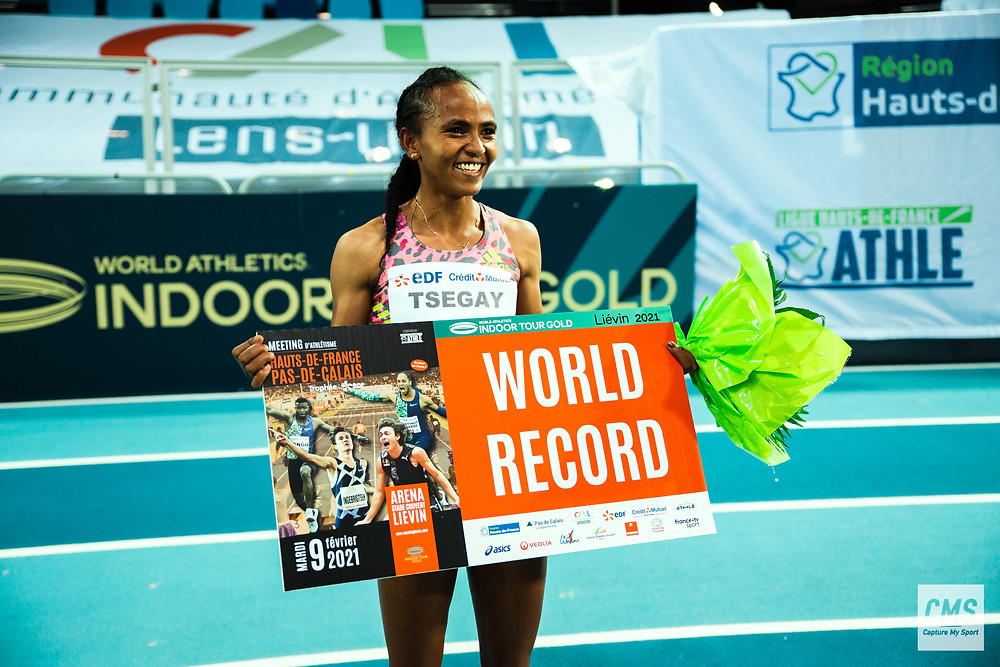 Gudaf Tsegay record women du 1500m en salle au meeting international de Liévin