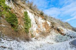 Eiszapfen Winter 2021 an der Straße nach Dorsheim