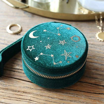 Starry Night Velvet Mini Round Jewellery Case in Teal