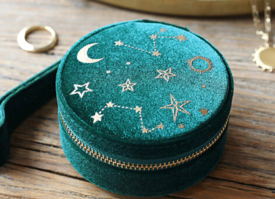 Starry Night Velvet Mini Round Jewellery Case in Teal