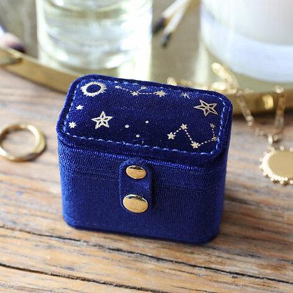 Starry Night Velvet Ring Box in Navy