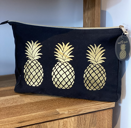 Gold Pineapple Wash/Makeup Bag