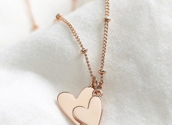 Rose Gold Falling Heart Charms Necklace