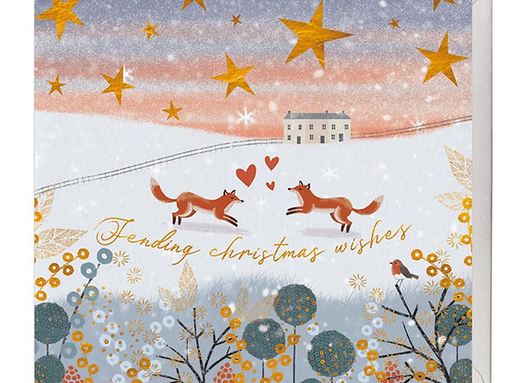 Frolicking Festive Foxes Christmas Card
