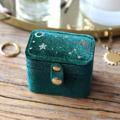 Starry Night Velvet Ring Box in Teal