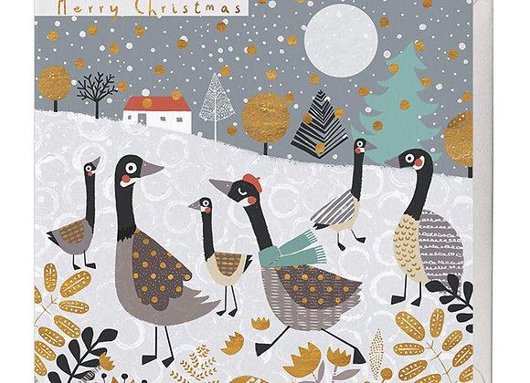 Festive Geese Christmas Card