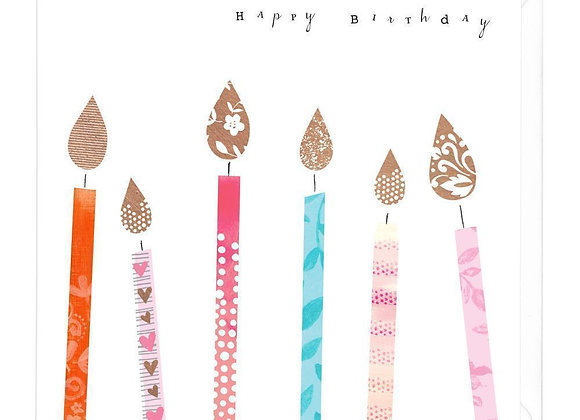 Colourful Candles Happy Birthday Card