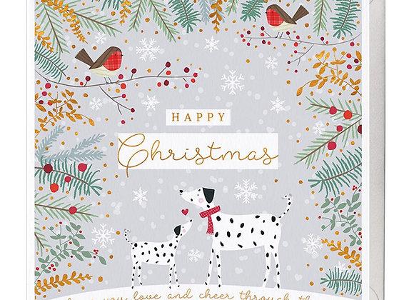 Dalmatians and Robins Christmas Card