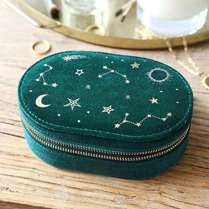 Starry Night Velvet Oval Jewellery Case in Teal