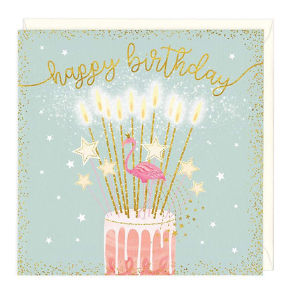 Happy Birthday Flamingo Cake Card